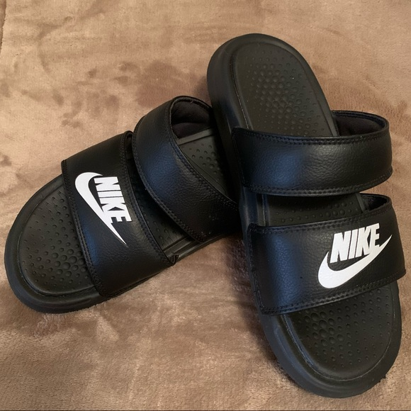 black nike slides with strap